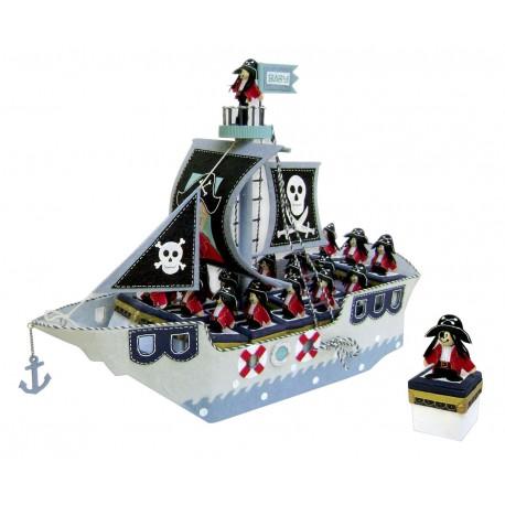 Expositor Barco Pirata + 16 cajitas pirata